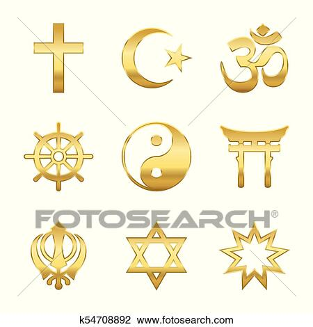 Clipart Of Golden Religious Symbols K54708892 Search Clip Art