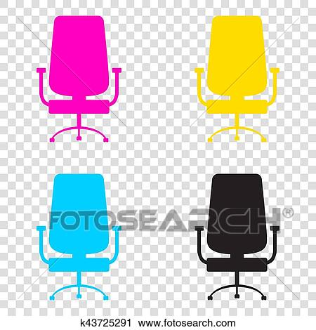 eba3e91c0365 Clipart of Office chair sign. CMYK icons on transparent background ...