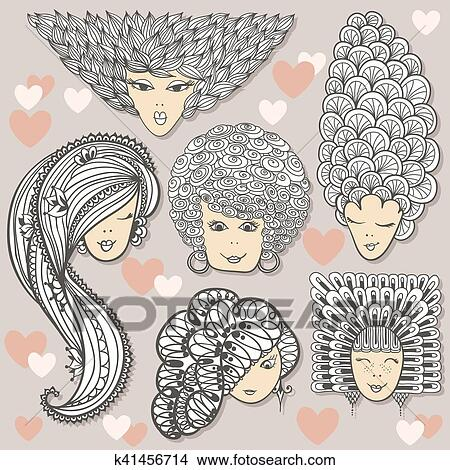 Sketches of girls with different hairstyles Clipart