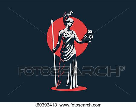 The goddess Athena. Clipart | k60393413 | Fotosearch