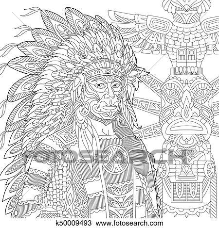 Clipart - zentangle, estilizado, rojo, jefe indio, (redskin, man ...