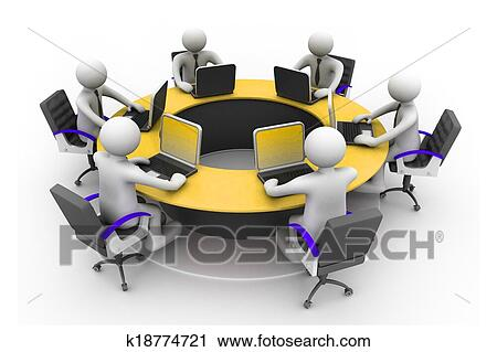 Clipart Of 3d Business People Working Together At Desk In