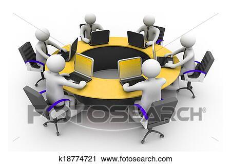 Clipart d professionnels travailler ensemble bureau dans