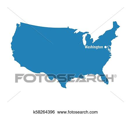Blank Blue similar USA map with DC Washington isolated on ...