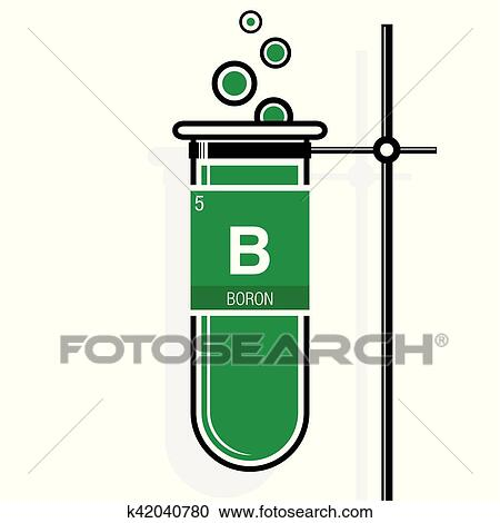 Clipart Of Boron Symbol On Label In A Green Test Tube With Holder