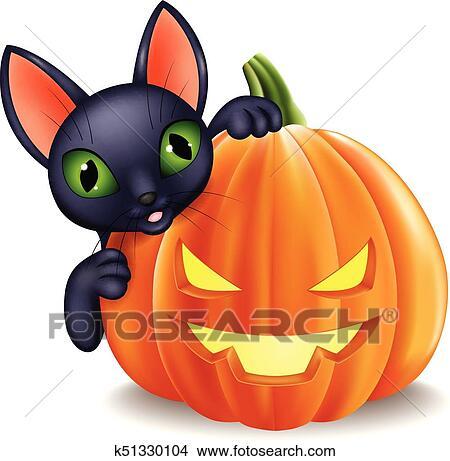 Zucca Halloween Gatto.Cartone Animato Gatto Nero Presa A Terra Halloween Zucca Clipart