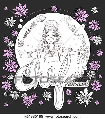 Chef Cuistot Girl Dessin Animé à Fleurs Logo Crayon Coup Conception A Chemins Coupure Banque Dillustrations