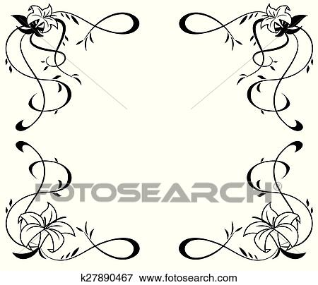 Clip Art Cornice Con Giglio Fiori Nero Silhouette K27890467