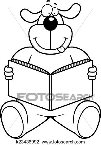 clipart of dog reading k23436992 search clip art illustration rh fotosearch com Cartoon Dog Reading dog reading clip art free