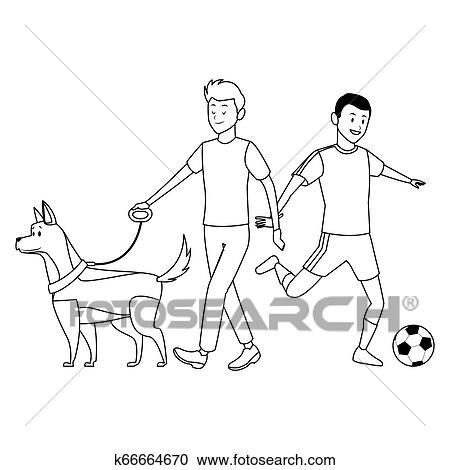 Fussballspieler Und Mann Mit Hund Clipart K66664670