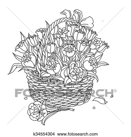 Hand drawing zentangle element. Black and white. Flower ...