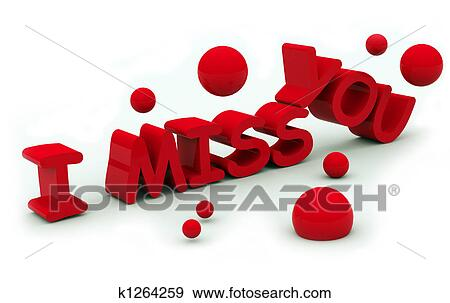Stock Illustration Of I Miss You Text K1264259 Search Vector