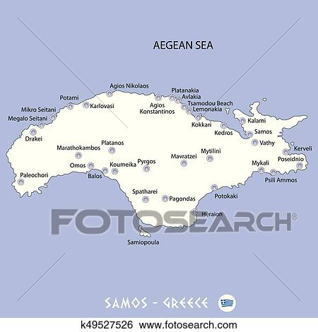 Island Of Samos In Greece White Map And Blue Background