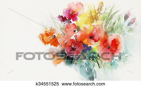 Stock Illustration Malen Mohnblumen Auf Papier K34551525