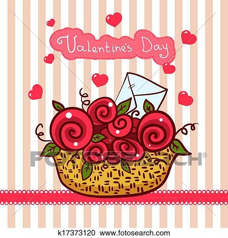 Clipart Panier A Roses Rouges Fleurs Saint Valentin K17373120