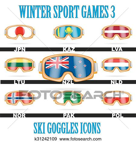 7e3b426381fa Set of Ski goggles icons of the flag different countries. Winter Sport  Vector Illustration isolated on white background