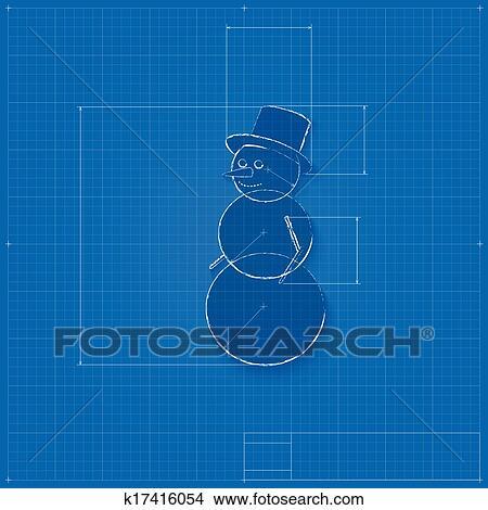 Clipart Of Snowman Symbol Drawn As Blueprint K17416054 Search