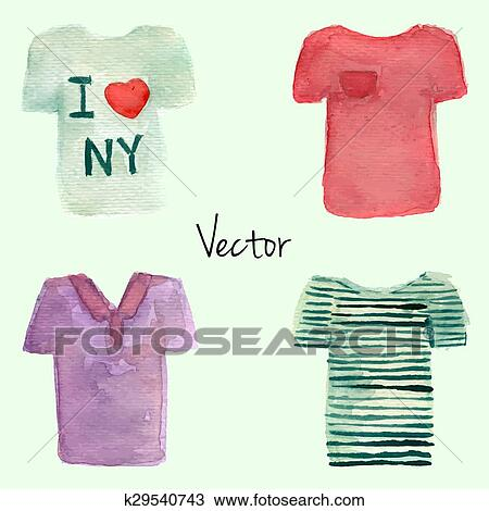 4dd4f9652 Watercolor painted T-shirt set. Vector illustration. White