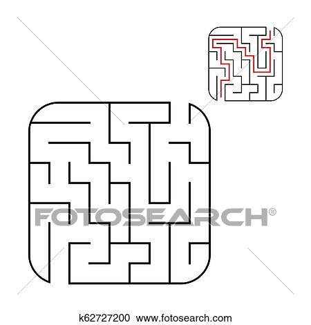 Abstract square maze  Easy level of difficulty  Game for kids  Puzzle for  children  One entrances, one exit  Labyrinth conundrum  Flat vector