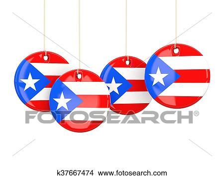 dibujos bandera de puerto rico redondo etiquetas k37667474