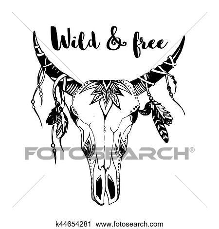 Clipart Of Boho Chic Image Fashion Illustration Wild Skull With