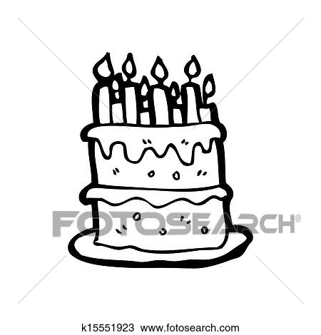 Awesome Cartoon Birthday Cake Drawing K15551923 Fotosearch Personalised Birthday Cards Veneteletsinfo