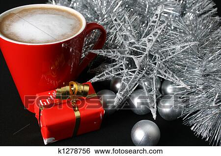 Coffee Christmas Morning.Christmas Day Coffee Stock Photograph