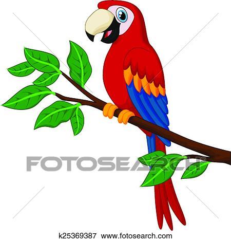 Clipart dessin anim rouges perroquet branche - Dessiner un perroquet ...