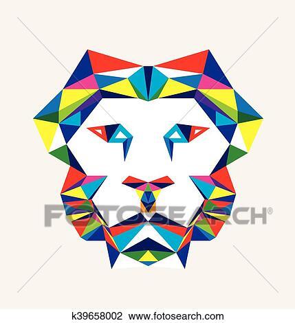 Clipart Géométrique Tête Lion K39658002 Recherchez Des Clip