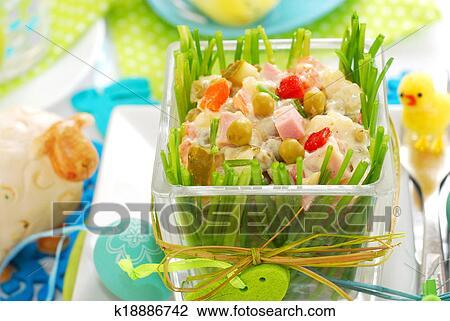Stock Foto Gemüse Salat Mit Schinkenkate Und Mayonnaise Für