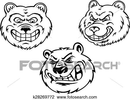 Clipart Of Growling Bear Heads In Cartoon Style K28269772 Search