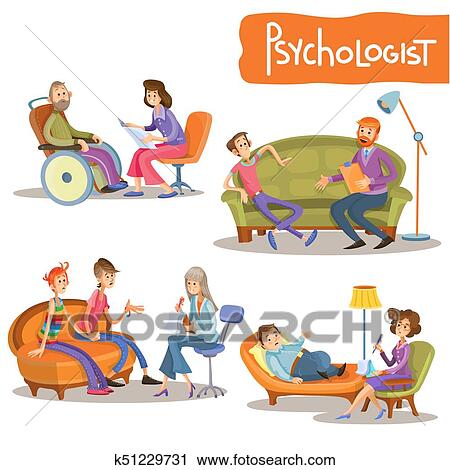 Clipart Of Psychologist Private Practice Cartoon Vector Set
