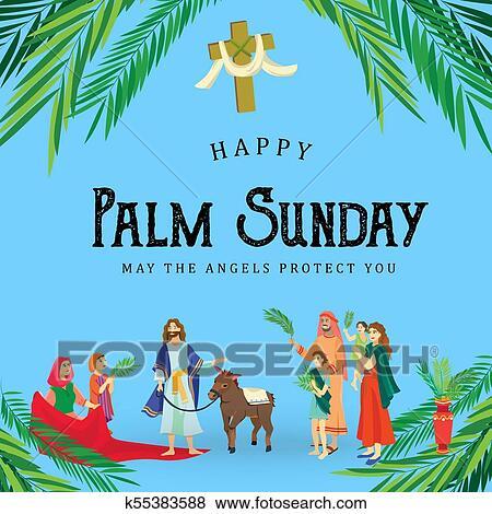 Clip art of religion holiday palm sunday before easter celebration clip art religion holiday palm sunday before easter celebration of the entrance of jesus m4hsunfo