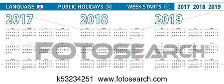 Calendario Ebreo.Semplice Calendario Sagoma In Ebraico Per 2017 2018 2019 Years Settimana Inizi Da Monday Clipart