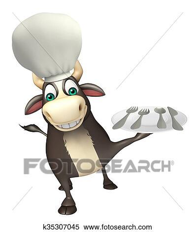 Toro cartone animato carattere con cappello chef e piatto