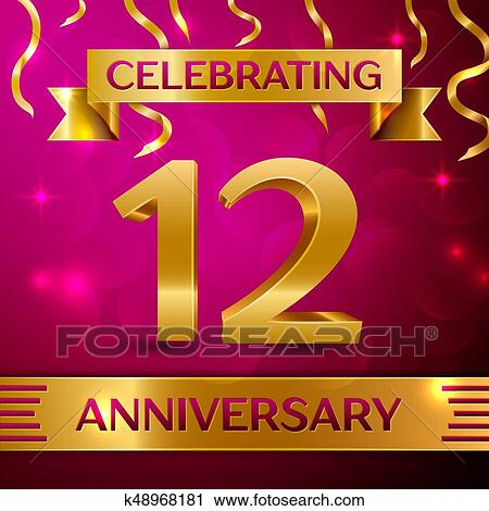 clipart twelve years anniversary celebration design confetti and golden ribbon on pink background