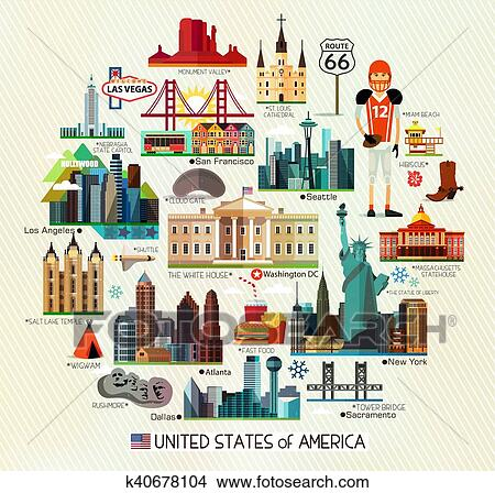 USA Travel Map. Clipart