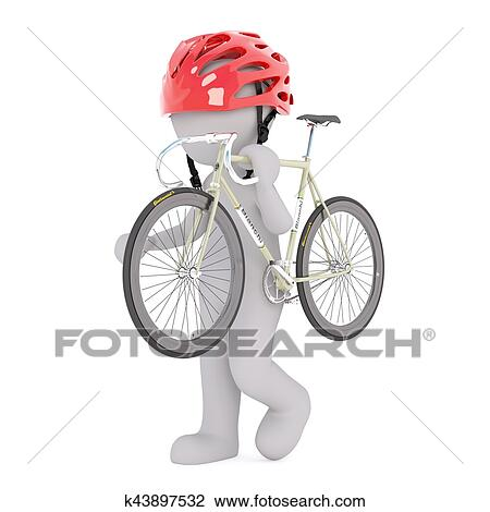 Clip Art Of 3d Man With Road Bicycle K43897532 Search Clipart