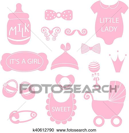 Clipart Of A Vector Illustration Of Cute Baby Girl Icons Like Nappy