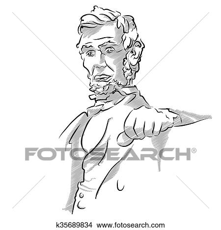 Clipart Of Abraham Lincoln Memorial Sketch K35689834 Search Clip