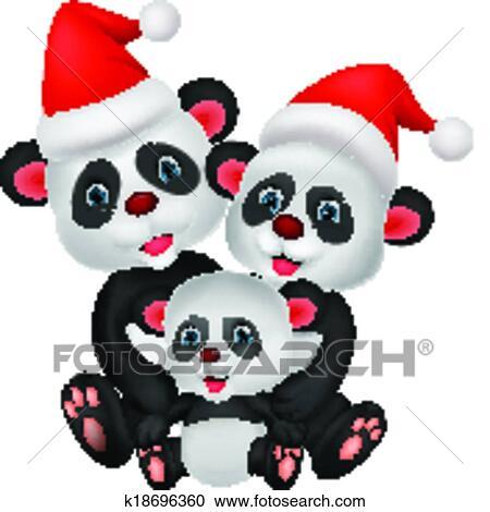 Carino cartone animato orso panda famiglia clipart k