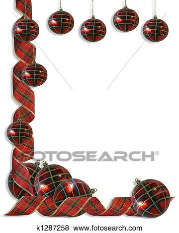 Stock Illustration Of Christmas Decorations Border Ribbon K1287258