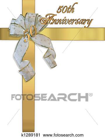 Clipart Goldene Hochzeit Goldenes Einladung K1289181 Suche