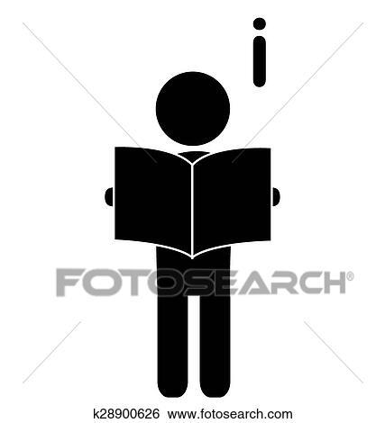 Lire Livre Homme Plat Icone Pictogramme Isole Blanc Clipart