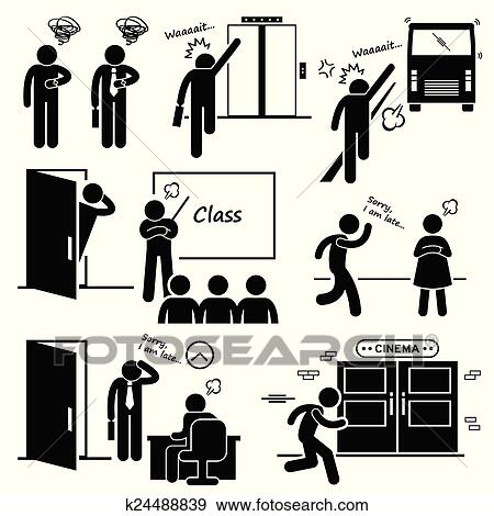 Clip Art Of Man Running Late And Rushing K24488839 Search Clipart