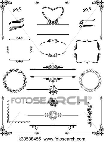 Clip Art of Ornamental victorian frames with scrolls.Vector ...