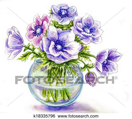 Stock Illustration Of Spring Flowers In Vase Watercolor