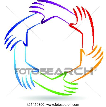 Clipart Of Teamwork Unity Hands Logo Identity K25459890 Search