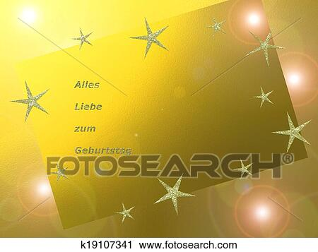 Clipart Of Written In German Letters Happy Birthday Card K19107341