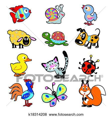 Clip art cartone animato animali per bambini - Cartone animato animali da colorare pagine ...